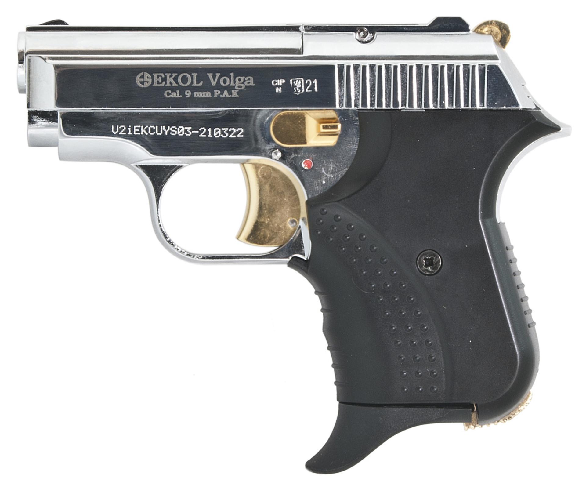 Pistolet gazowy Ekol Agent Volga chrom gold z ryciną kal.9mm