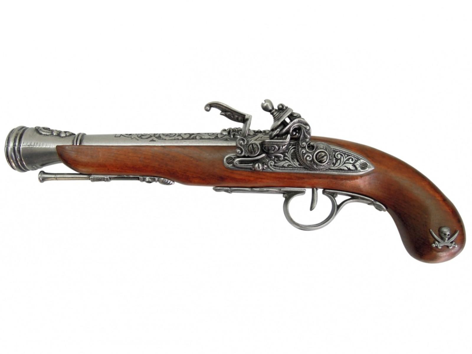 Replika pistoletu pirata z XVIII wieku, Francie, nikel